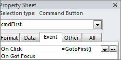 Command Button GoToFirst function