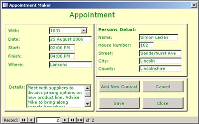 The Appointment Maker screen