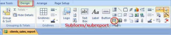 Subform/subreport button