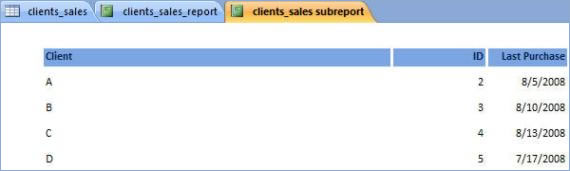 The subreport showing only the selected fields