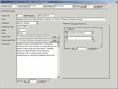Main data entry screen containing areas to add Author and Book information